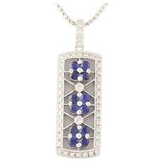 """Floral Sapphire & Diamond Pendant Necklace 18 1/2"""" - 14k White Gold 1.09ctw"""
