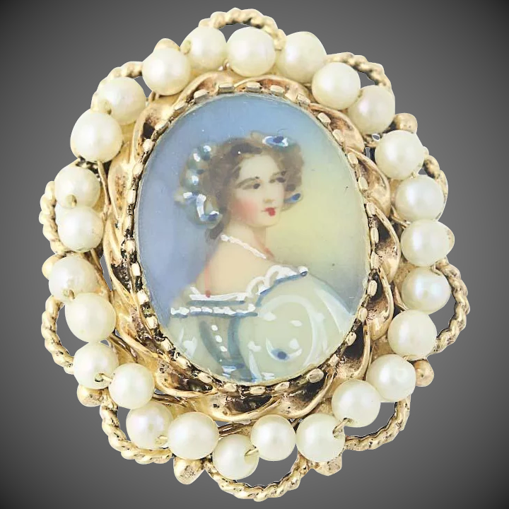 5155178b45e5c Convertible Portrait Brooch - 14k Gold Pearls Hand-Painted Accents Pendant