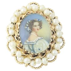 Convertible Portrait Brooch - 14k Gold Pearls Hand-Painted Accents Pendant