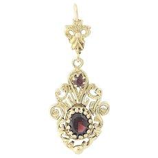 Vintage Garnet Drop Pendant - 14k Gold Oval Brilliant .93ctw