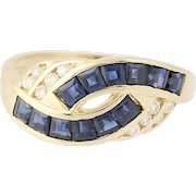 Sapphire & Diamond Bypass Ring - 14k Yellow Gold Square Baguette 1.10ctw