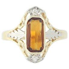 Art Deco Citrine & Diamond Ring - 14k Yellow Gold Size 6 Vintage .80ctw
