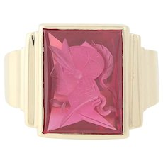 Vintage Synthetic Ruby Ring - 10k Yellow Gold Intaglio Warrior Men's Size 10 1/4