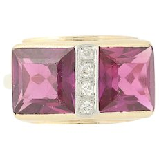 Vintage Synthetic Ruby & Diamond Ring - 14k Yellow Gold Women's 5.81ctw