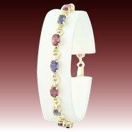 """Rhodolite Garnet & Iolite Link Bracelet 7"""" - 10k Gold Oval Brilliant 6.40ctw"""