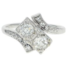 Art Deco Jabel Diamond Bypass Ring - 18k White Gold Vintage European Cut .63ctw