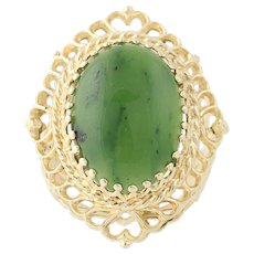 Nephrite Jade Cocktail Ring - 14k Yellow Gold Cabochon Cut 5.75ct