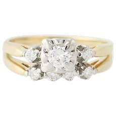 Vintage Diamond Engagement Ring & Wedding Band - 14k Gold Round Brilliant .34ctw