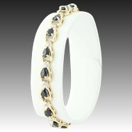 "Sapphire & Diamond Tennis Bracelet - 10k Yellow Gold Diamond Accents 6"" 5.15ctw"