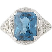 Synthetic Blue Spinel Ring - 14k White Gold Filigree Vintage 3.70ct