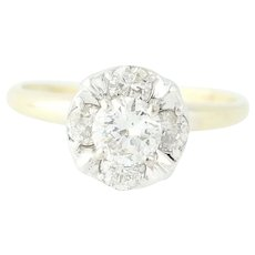 Vintage Diamond Engagement Ring - 14k Yellow Gold Illusion Set Round Cut 1.01ctw