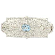 Art Deco Aquamarine & Diamond Brooch - 14k White Gold Vintage Pin 1.06ctw