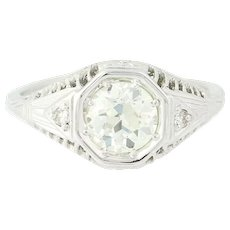 Art Deco Diamond Ring - 18k White Gold GIA Vintage European Cut 1.11ctw