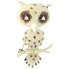 Vintage Owl Brooch - 14k Yellow Gold Enamel Diamond Accents