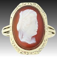 Edwardian Cameo Ring - 14k Yellow Gold Carved Hardstone Antique Floral