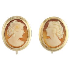 Vintage Carved Shell Cameo Earrings - 10k Yellow Gold Non-Pierced