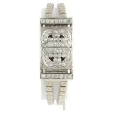 Swiss Chalet Diamond Wristwatch Platinum 14k White Gold Vintage Women's 1.94ctw