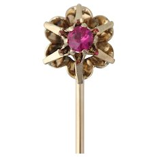 Vintage Flower Stickpin - Synthetic Ruby Solitaire Vintage 14k Yellow Gold