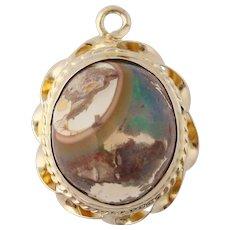 Boulder Opal Pendant - 14k Yellow Gold Genuine 4.76ct Solitaire Cabochon