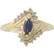 Synthetic Sapphire & Diamond Bypass Ring - 10k Yellow Gold Women's .68ctw