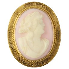 Vintage Carved Pink Shell Cameo Brooch / Pendant - 10k Yellow Gold Collectible