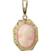 Vintage Shell Cameo Pendant - 10k Yellow Gold Etched Accents Women's