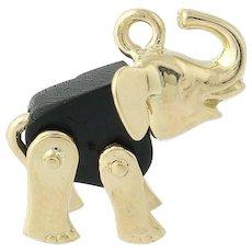 Elephant Figurine Charm - 14k Yellow Gold Black Gutta Percha Pendant