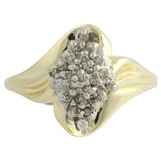 Diamond Cocktail Ring - 10k Yellow & White Gold Natural 1/4ctw
