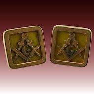 Masonic Vintage Square Compass Cuff Link Lapel Buttons