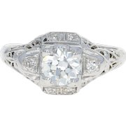 Art Deco Diamond Engagement Ring - 18k White Gold GIA Vintage European .63ctw