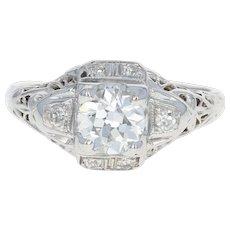 Art Deco Diamond Engagement Ring - 18k White Gold GIA Vintage European .63ctw