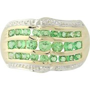 Tsavorite Garnet Ring - 14k Yellow Gold Diamond Accents 1.00ctw