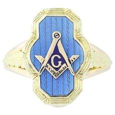 Art Deco Masonic Blue Lodge Ring 10k Yellow Gold Vintage Wive's Women's Masonry