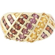 Rhodolite Garnet, Mozambique Garnet, & Citrine Ring - 14k Yellow Gold 2.49ctw