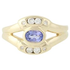 Tanzanite & Diamond Ring - 14k Yellow Gold Oval & Round 0.65ctw