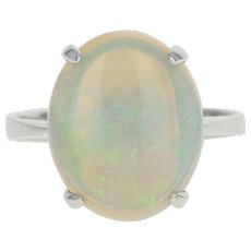 Opal Solitaire Ring - 14k White Gold Size 6 3/4 Women's 4.38ct
