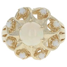 Vintage Opal Ring - 14k Yellow Gold Round Cabochon Cut .60ctw