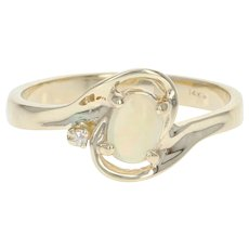 Opal & Diamond Bypass Ring - 14k Yellow Gold Oval Cabochon .24ctw
