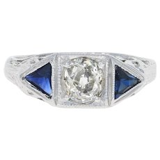 Art Deco Diamond & Syn. Sapphire Engagement Ring 18k Gold Vintage Old Mine .60ct