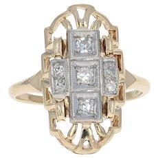 Vintage Diamond Ring - 14k & 18k Gold Size 6 - 6 1/4 Single Cut .12ctw