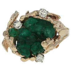 Synthetic Emerald & Diamond Cocktail Ring - 14k Yellow Gold .23ctw
