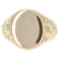 Engravable Vintage Signet Ring - 14k Yellow Gold Oval Men's 9 1/4 - 9 1/2