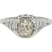 Art Deco Diamond Engagement Ring - 18k Gold Vintage Solitaire Mine Cut .91ct
