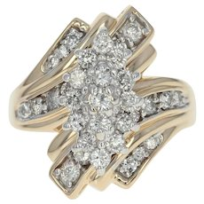 Diamond Cluster Bypass Ring - 14k Yellow Gold Round Cut 1.00ctw