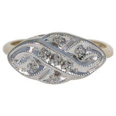 Vintage Diamond Ring - 10k Yellow White Gold Ornate Infinity Knot