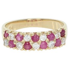 Ruby & Cubic Zirconia Ring - 14k Yellow Gold Round Brilliant Cut