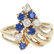 Synthetic Sapphire & Diamond Ring - 14k Yellow Gold Round Brilliant .65ctw