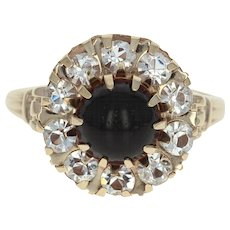 Vintage Glass Halo Ring - 10k Yellow Gold Cabochon Women's Size 5 1/2