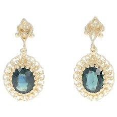Sapphire Drop Earrings - 14k Yellow Gold Pierced Oval Brilliant 5.50ctw