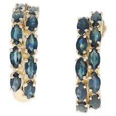 Blue Sapphire Journey J-Hook Earrings - 14k Yellow Gold Pierced Women's 3.50ctw